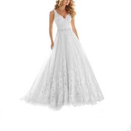 vendita all'ingrosso abito da sposa di cinghie di appliques di abiti da sposa in rilievo con scollo a V in pizzo da