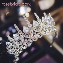 diadema de circonia Rebajas Rosebridalpark 2018 Circón Hermosa boda nupcial accesorios para el cabello Tiara gran cubic zirconia corona diadema para la dama de honor T997 J 190430