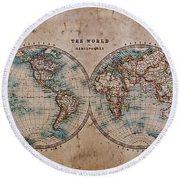 Saco de mapas mundiais on-line-Compass Redonda Toalha de Praia Mapa Mundi Toalha Com Saco Grande para Adulto impressão 3D retro Toalha Tassel 150 centímetros Mat Yoga