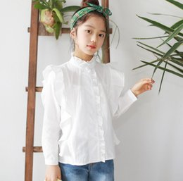 ef6d1f354bb Big Girls shirt kids ruffle collar single breasted falbala fly sleeve blouse  children white princess tops mommy and me matching outfits F506 big girls  ...