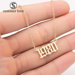 charm initials necklace chains Coupons - Fashion Birth Year Necklace Initial Letter Year Number Pendant Necklace Birthday Gift Charm Stainless Steel Necklace Women Jewelry