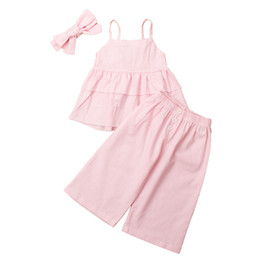 Модные майки для малышей онлайн-Princess Fashion 3pcs Toddler Kids Girls Clothes Set Ruffles Vest Tee Tops Wide Leg Pants Headband Summer Children Suit 2019
