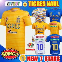 Novo 7 Estrela 2019 NAUL Tigres Camisolas De Futebol 18/19/20 Camiseta de Pé Maillot Terceiro Futebol Jersey GIGNAC Kit 2020 Liga MX Camisas De Futebol de