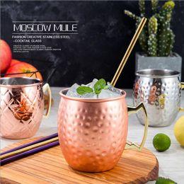 Mug Moscou mule tasse à bière en acier inoxydable rose or argent tasse en cuivre martelé barre de verre boisson Boissons Tasse à cocktail verre à cocktail ? partir de fabricateur