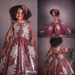 1f99bcc4173 girls pageant dresses tulle feathers Promo Codes - New Sparkly Sequins Flower  Girl Dresses Pink Shinny