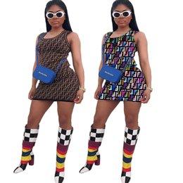 Argentina F Print Diseñador de la marca Vestidos de verano sin mangas Scoop Neck Mini Club Party vendaje Bodycon vestido café Multi Suministro