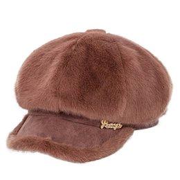 2020 Nueva sombreros de las mujeres caliente grueso de invierno las gorras Mujer visón terciopelo octogonal remiendo Newsboy con el pabellón desde fabricantes