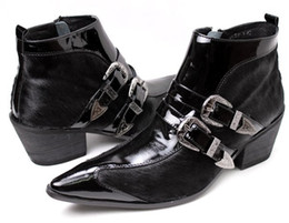 talons pointus devant Promotion Mode Hommes Bottes Chaussures Bout Pointu En Cuir Cheville Bottes Hommes Avant Métal Cap 6.5cm Talons Partie Affaires, De Mariage Botas