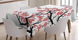 2019 albero giapponese fiore Copertura asiatica del tavolo da cucina della sala da pranzo di celebrazione tradizionale di festa della molla della tovaglia giapponese Plum Tree Blossoms della decorazione giapponese sconti albero giapponese fiore
