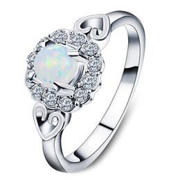 2019 anillos en forma de corazón de oro blanco Anillo en forma de corazón con incrustaciones de ópalo - Oro blanco joyas blancas Anillo de ópalo de alta calidad Anillos de moda para mujeres anillos en forma de corazón de oro blanco baratos