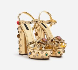 gold chunky heeled sandals Promo Codes - Hot Sale-Platform Gladiator Party Sandals Gold Bohemia Floral Printing Chunky Heel Shoes Beading Sandalias Ladies Pumps Open Toes Zapato