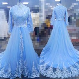 2019 Real Pics Gola Alta Tule Vestidos de Noite Mangas Compridas Com Zíper Apliques Custom Made Vestido de Festa Vestidos de