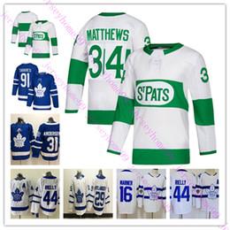 Hóquei jersey c remendo on-line-Toronto Maple Leafs Jersey 34 Auston Matthews 16 Mitchell Marner 91 John Tavares C patch 31 Frederik Andersen Hockey Jerseys Azul Branco