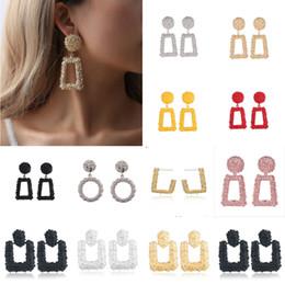 Grandi orecchini vintage per le donne Orecchini dorati di dichiarazione geometrica di colore 2018 Earing di metallo che appendono i monili di tendenza da pietre per la decorazione delle unghie fornitori