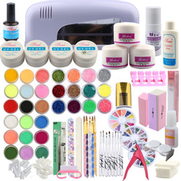 Kit de uñas falsas uv online-Kit de acrílico en polvo 9W Secador de lámpara 30 colores Nail Glitter Powder Nail Art Extension Set Pincel Falsos consejos Top Coat UV Gel Set