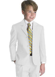 wedding suits for boys blue Coupons - Three Buttons White Boy Formal Suit for Wedding Wear Occasion Kids Tuxedos Notch Lapel Prom Party Suits Two Piece Jacket Pants Kids Suit