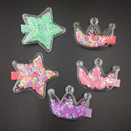 Small alligator hair clips online-2020 New Transparent Stars mit Glitter Stern Inside Small Hairpin Kinder Crown Tiara Alligator Hair Clips