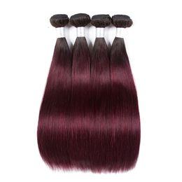 Ön renkli 1B 99J Demetleri Brezilyalı Düz Saç Ombre İnsan Saç Paketler 99j Bordo siyah Kırmızı Ombre Brezilyalı vücut dalga Saç cheap burgundy brazilian body wave nereden bordo brazilian vücut dalgası tedarikçiler