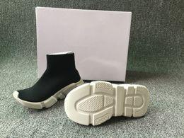 2019 i capretti calzini bianchi delle scarpe nere Scarpa da bambino di lusso per bambini Paris Speed Trainer Scarpe da ginnastica elasticizzate in maglia nera White Sneaker di design da donna in coppia Casual Eur 25-35 i capretti calzini bianchi delle scarpe nere economici