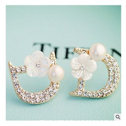 Nuevos pendientes de diseño online-New high quality woman jewelry small letter D designer flowers pearls 925 silver earrings bijoux bijouterie jewelry gift