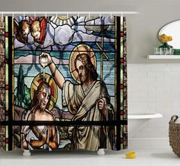 tissu religieux Promotion Rituel religieux coloré avec impression de paysage impotant historique Art Illustration, décor de salle de bain en tissu sertie de crochets