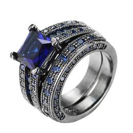 24k or jaune rempli Vintage Femmes Charms Bleu Zircon Cz Ring Sz5-9