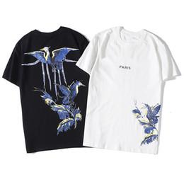 Camisas casuales de calidad para hombre online-De lujo Camiseta de Hip Hop pájaro de la manera impresión del Mens diseñador de la camiseta de manga corta de alta calidad de los hombres Camiseta de las mujeres del polo tamaño S-XXL