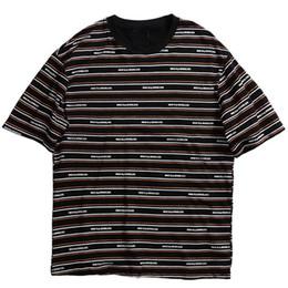 2019 camiseta rayas negro para hombre Verano 2019 Streetwear camiseta Hip Hop para hombre camisetas a rayas de impresión Harajuku camiseta manga corta moda Tops negros algodón rebajas camiseta rayas negro para hombre