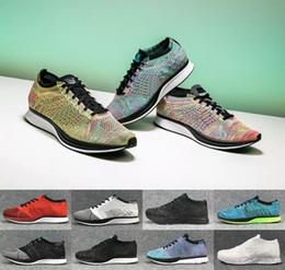 9f2a31569a859 Nike flyknit racer 2018 Kostenloser Versand Mesh Multicolor Volt Oreo fly  Racer Freizeitschuhe Airs Lunar Laufschuhe Männer Frauen Trainer Sneaker Eur  36-45