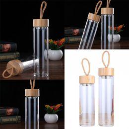 Vasos de copas de bambú online-Vaso de agua portátil de una sola capa Aislamiento térmico Gafas Vasos Tapa de bambú con cuerdas Botellas de agua Venta caliente 16bd2 L1