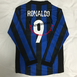 Vintage j on-line-LONGA LUVA 1998/99 RETRO VINTAGE CLÁSSICO RONALDO 9 BAGGIO 10 J CAMISETAS de futebol ZANETTI MAILLOT DE FOOT camisas de futebol de qualidade tailândia kit