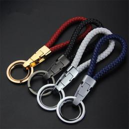 Raccordi chiave online-Portachiavi in pelle ad alta quatity in pelle con catena a corda Corda a treccia in pelle
