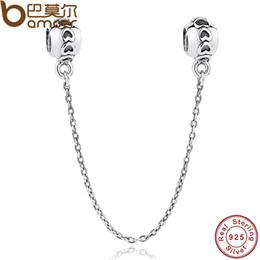 conexiones encantos Rebajas Bamoer 925 Sterling Silver Love Connection Cadena de seguridad Charm Fit pulsera en forma de corazón joyería de plata esterlina Pas032 C19041201
