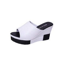 547a9df70a 2019 Summer Sloped Thick-Bottom Fish Toe Woman Slippers Elegant 9CM High  Heel Sandals Wedge Platform Slippers Women Outdoor Comfy Shoes