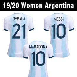 Camicie da donna online-2019 Argentina Home Soccer Maglie Donne Coppa del Mondo 19 20 Maglia da calcio MESSI DYBALA Ladys Shirt Donna Top Thai Qualità Sport Uniformi