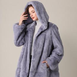 2020 abrigo de visón azul Blue Coat visón Real invierno de la piel natural a largo pieles de visón capas de la chaqueta del transformador Caliente ropa de las mujeres de visón 2019 Tamaño grande de la vendimia LY191225 abrigo de visón azul baratos
