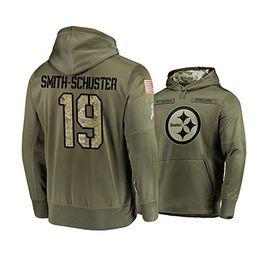 pittsburgh gewohnheit Rabatt Männer Frauen Jugendliche PittsburghSteelers # 19 Sweatshirt Gruß zu den Service-Sideline Gewohnheit irgendeine Name Anzahl Hoodie Olive 16