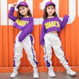 2019 pantaloni di ballo di hip hop della ragazza Vestiti per bambini Ragazze 12 anni Hip Hop Costume da danza jazz Vestiti per ragazze Kid Cropped Felpa Shirt Jogger Pants J190513 sconti pantaloni di ballo di hip hop della ragazza
