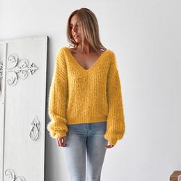 2019 frauen s offene oberseiten Womens Designer Sweater Damenmode Sexy Open Back Sweater Marke Solid Color Top Frauen Luxus Langarm Bekleidung günstig frauen s offene oberseiten