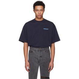 Camiseta vintage hip hop online-Vetements Blue Logo Impreso Tee Lujo Vintage Color sólido Mangas cortas Hombres Mujeres Casual Hip Hop Street Skateboard camiseta HFTTTX032