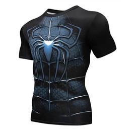 Chemises à manches longues super-héros en Ligne-Spiderman 3d Impression T-shirts Hommes Compression Fitness Chemises Super Héros Costume À Manches Courtes Fitness Crossfit T-shirts