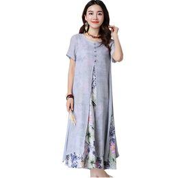 Le donne cinesi vestono stili online-Abito estivo donna stile cinese casual in cotone sciolto linea abito stampa O -Neck vestidos de festa