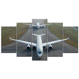 flugzeug gemälde Rabatt 5 Stück Leinwand Gemälde HD Flugzeug Bilder Airbus A350 Poster Wandkunst für Wohnkultur