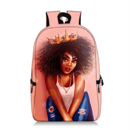 mochila multifunción bandolera Rebajas 16 Inch mochilas Afro muchachas de la historieta del estudiante de hombros del desgaste de Calidad Altura bolsa de viaje resistente a múltiples funciones de la cremallera bolsa de almacenamiento 06
