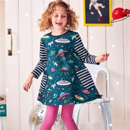 2019 robes en gros au genou Poche À Rayures Floral Animal Enfants Filles Robe Enfants Filles Genou Longueur A-ligne Coton Bébé Filles Robe Designer En Gros robes en gros au genou pas cher