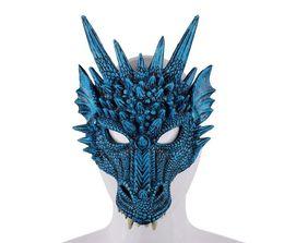 Máscaras trajes de animales online-Máscara de dragón 3D Fiesta de carnaval Traje de animal de dragón Cosplay Mascarada Mascarilla facial Máscara de carnaval PU