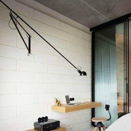 apliques de parede rústica Desconto lâmpada de parede levou luz swing longo braço luzes brancas pretas para casa ajustável moderna sconce industrial do vintage E27 quarto foyer