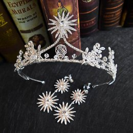 2019 noivas das estrelas Princesa Estrela Bling Bling Da Noiva de Cristal Coroa Brincos Set Rainha da Igreja Cocar de Casamento Mulheres Partido Conjuntos de Jóias noivas das estrelas barato