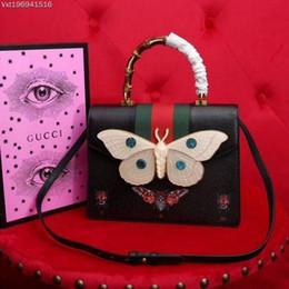 Schmetterlings-kuriertasche online-Neue Frauen Bambus Griff Motte Schmetterling Insekt Leder Handtasche 488691 Schwarz Echtes Leder Umhängetasche Totes Cross Body Messenger Bags