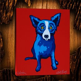 2019 óleo, arte, oceânicos, ondas Li l Cão Azul -4,1 Peças Home Decor HD Impresso Modern Art Pintura em Tela (Sem Moldura / Emoldurado) 24x32.